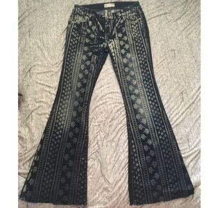 Free People Patterned Flare Jeans